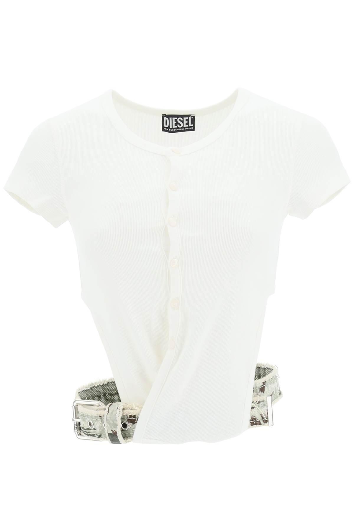 diesel top fashion show con cintura s bianco, khaki cotone
