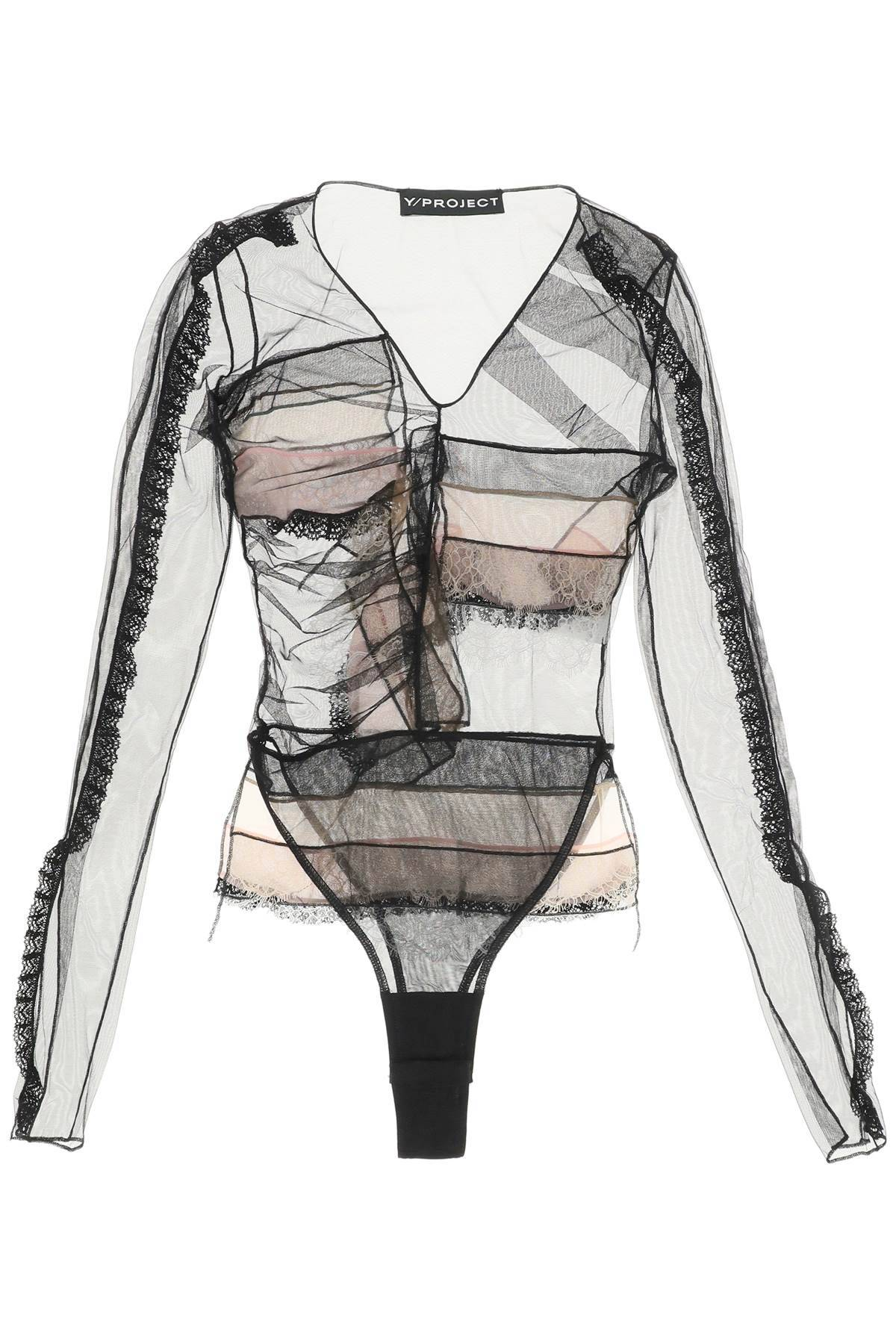 Y PROJECT BODY IN TULLE CON PIZZO 38 Nero, Rosa, Bianco