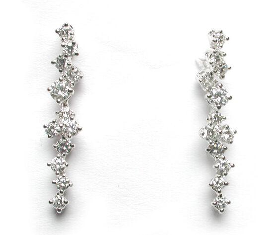 SALVINI Tenerife Orecchini Snodati Pendenti Oro Bianco Con Diamanti Ct 1.16 20018471
