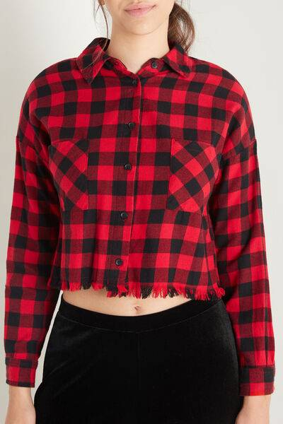tezenis camicia corta in flanella con frange donna nero
