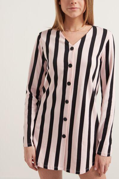 tezenis camicia da notte manica lunga aperta con bottoni donna nero