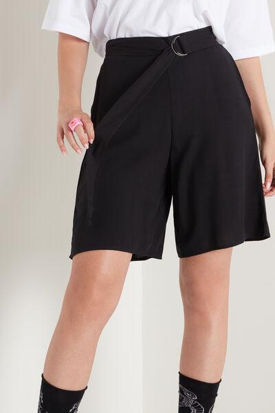 tezenis bermuda in tela di cotone con cintura donna nero