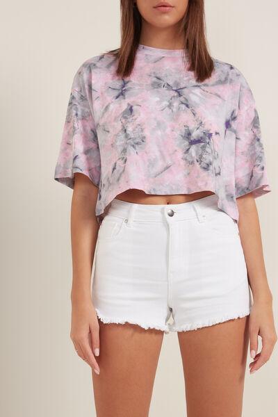 tezenis short in jeans sfrangiato donna bianco
