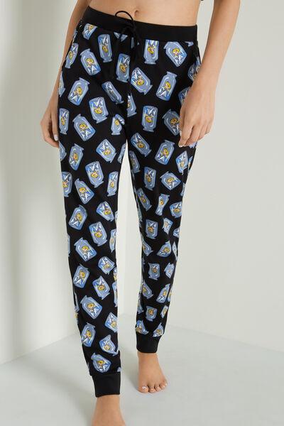 Tezenis Pantalone Lungo con Tasche Stampa Disney Alice Donna Nero