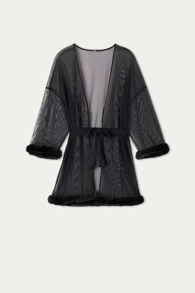 Tezenis Vestaglia in Tulle con Dettaglio Pelo Donna Nero