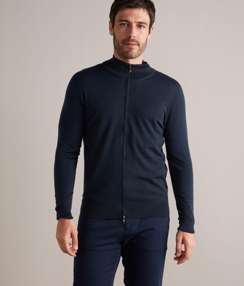falconeri cardigan zip cashmere ultralight uomo dark blu melange