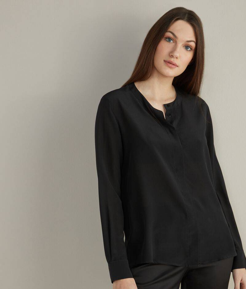 falconeri camicia girocollo in seta donna nero