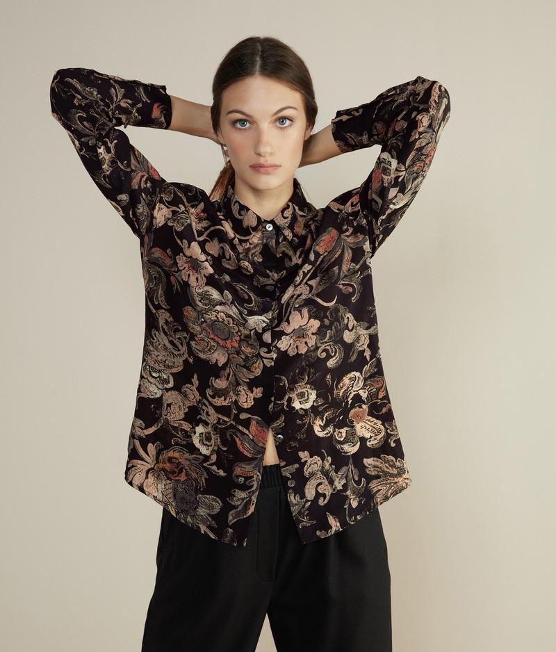 falconeri camicia in seta stampata donna nero stampa tappezzeria