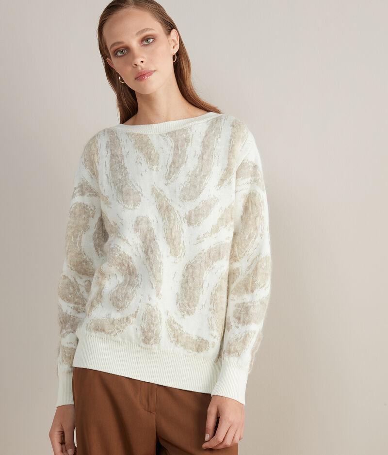falconeri maglia in mohair con scollo a barchetta donna naturale