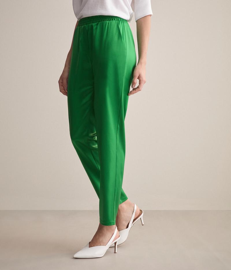 falconeri pantaloni in seta donna verde prato