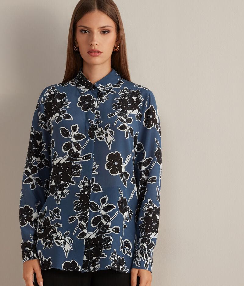 Falconeri Camicia in Seta Stampata Donna Fiori Blu Notte