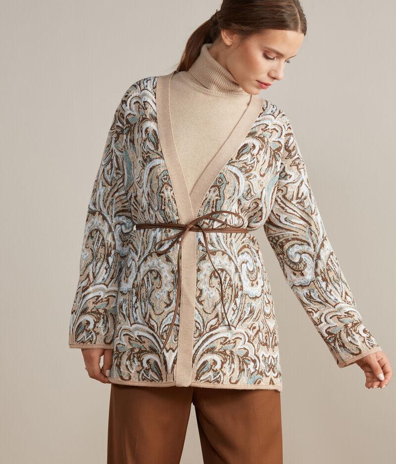 Falconeri Kimono con Cintura in Pelle Donna Naturale