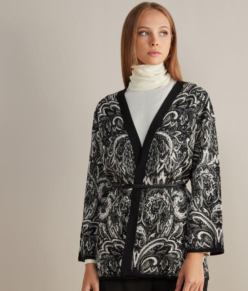 Falconeri Kimono con Cintura in Pelle Donna Pietra