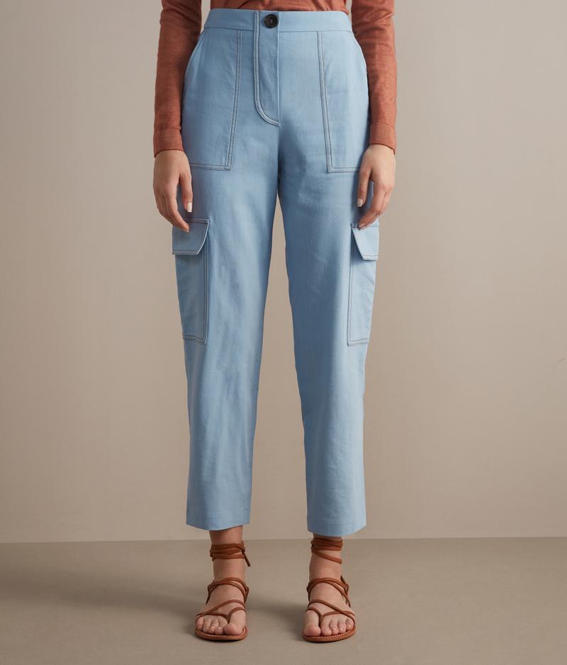 Falconeri Pantaloni Cargo Donna Azzurro Jeans