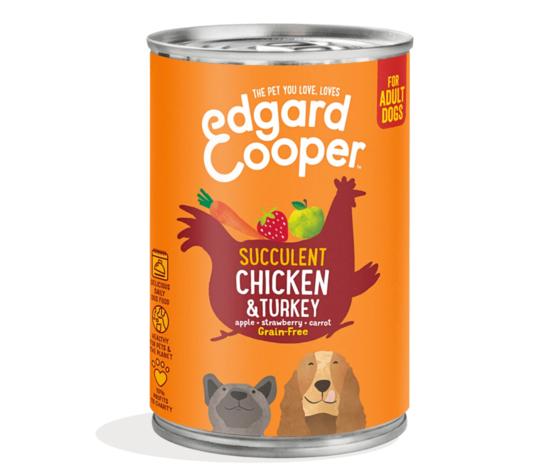 EDGARD & COOPER Edgard & Cooper Umido Pollo E Tacchino Con Mela E Fragola Per Cani 400 Gr