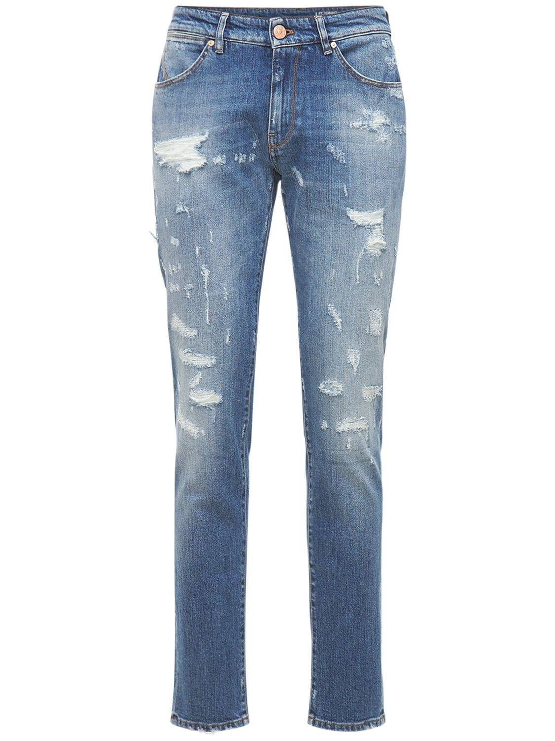 Pantaloni Torino Jeans Super Slim In Cotone Destroyed 17.5cm Blu