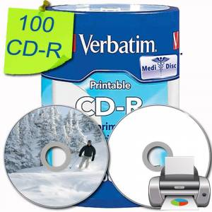 Verbatim (100 pcs) Verbatim Extra Protection CD-R 700 MB 52x 80 MIN. MEDI DISC DRATA A VITA WHITE THERMAL PRINTABLE STAMPABILI - VERBATIM