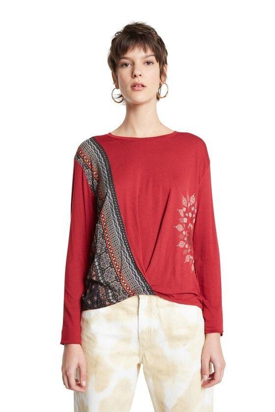 desigual maglia donna viscosa bordeaux  ts-marsella 20wwtkao burgundy
