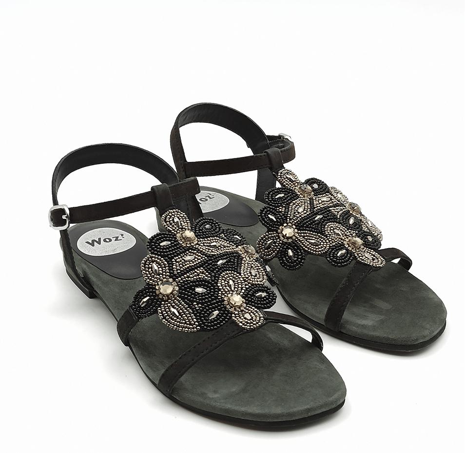 sandalo gioiello basso camoscio nero woz 2076 camoscio nero