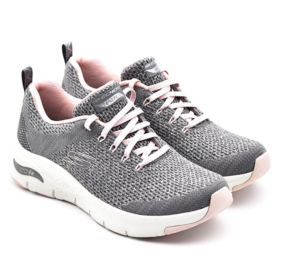 skechers scarpa sportiva da donna in tessuto grigio- rosa  149058 gypk