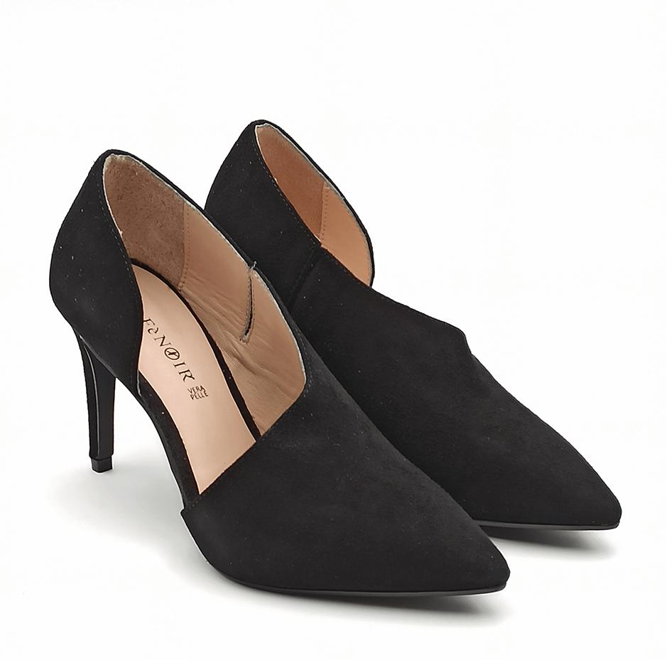 cafenoir scarpa tacco alto spillo in camoscio nero  na554 nero