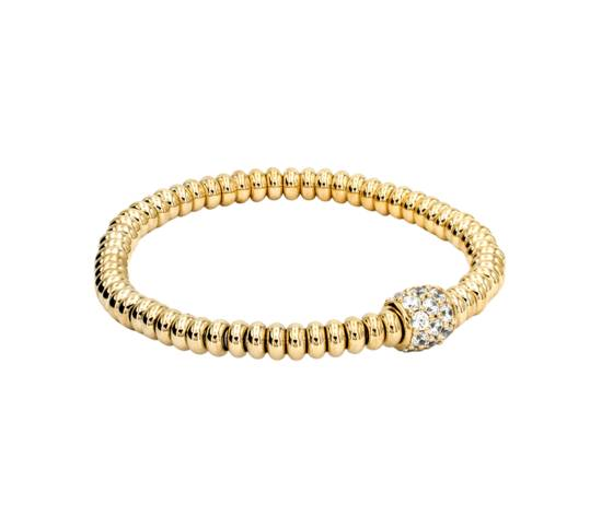 BLOOBLOOD Bracciale Spring In Argento 925 Dorato Oro Giallo 18kt E Cubic Zirconia Bianca Diamond Cut