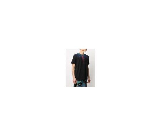 MARCELO BURLON T-Shirt Nera Stampa Ali Stilizzate