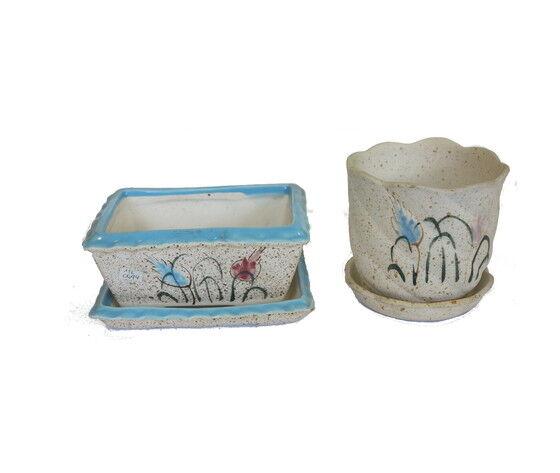 gecas regali dal mondo set di 2 vasi portapiante in ceramica misura. d.11x11h cm.
