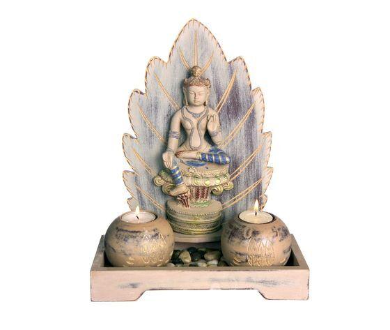 gecas regali dal mondo - budda foglia 2 candele misura 29 x 23 x 10 cm