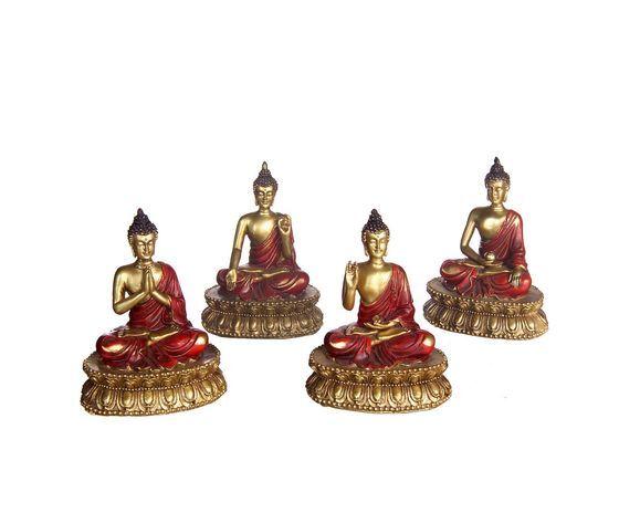 gecas regali dal mondo - budda thai seduto set di 4 misura 9 x 11 cm