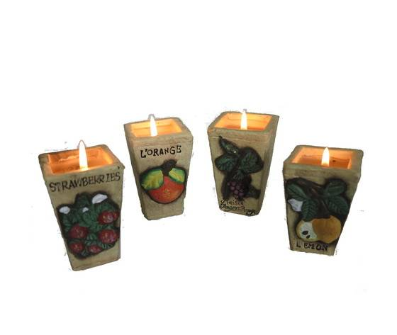 gecas regali dal mondo - portacandele ceramica set di 4 pz. misura 5x8 cm