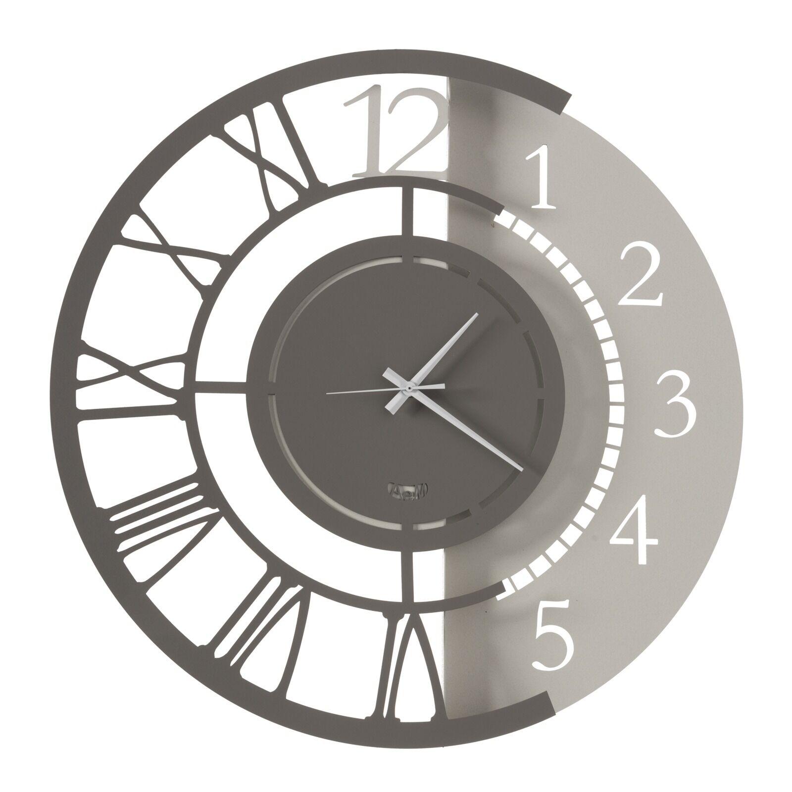 casa shop orologio da parete doppia numerazione full metal jack grande avorio e fango