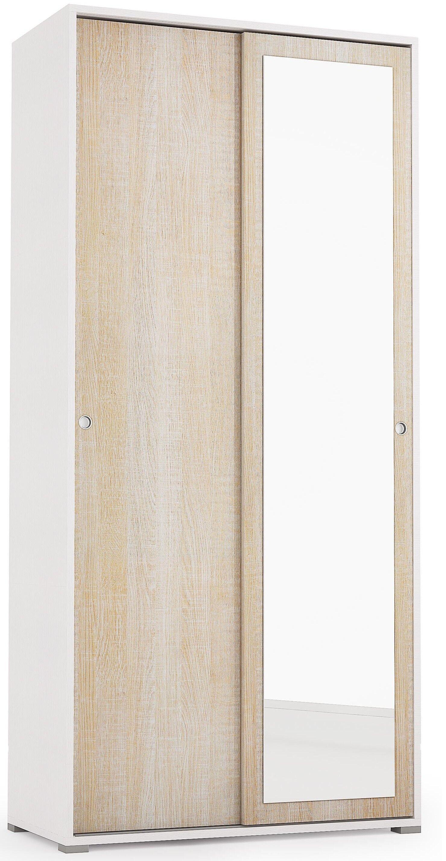 Caesaroo Armadio 195 cm Bianco frassinato e Rovere con due ante scorrevoli e specchio   Rovere chiaro/Bianco