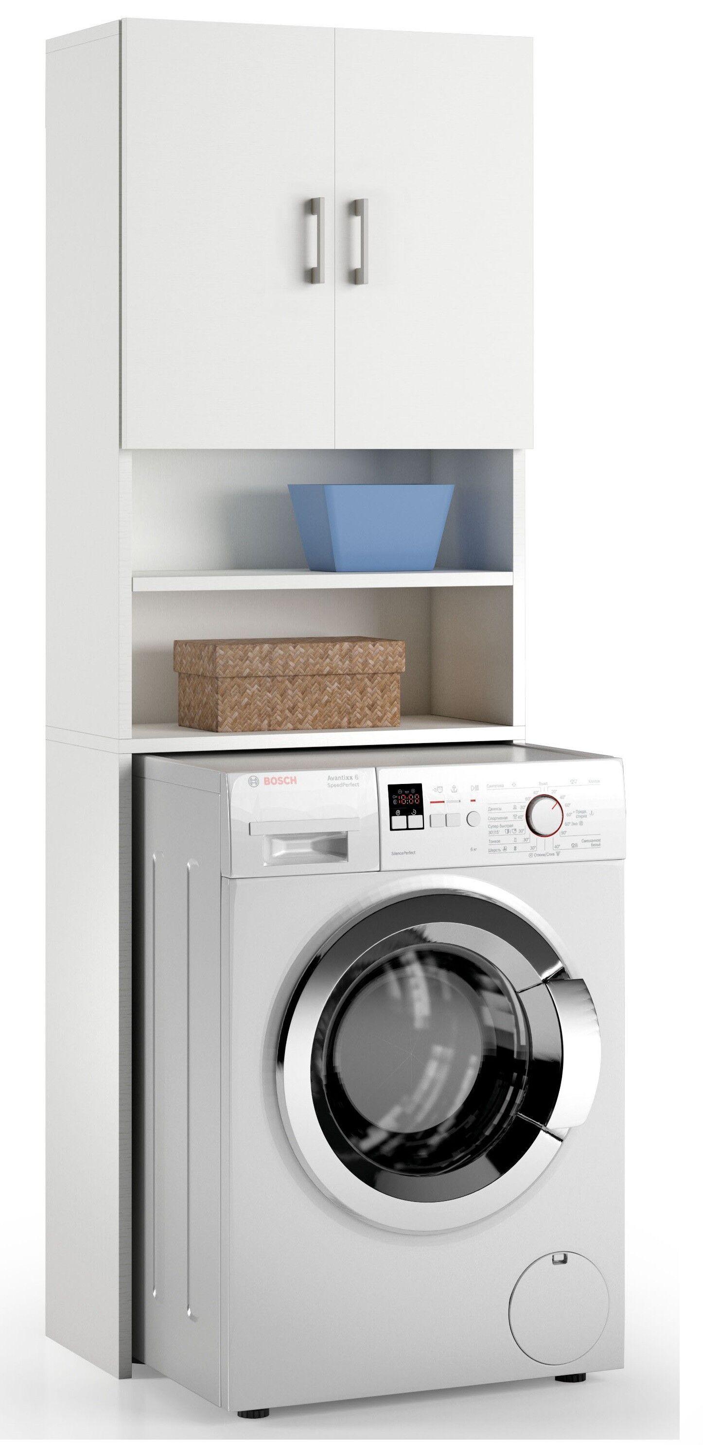 Caesaroo Mobile sopra lavatrice 195 cm Bianco frassinato con due ante Bianco