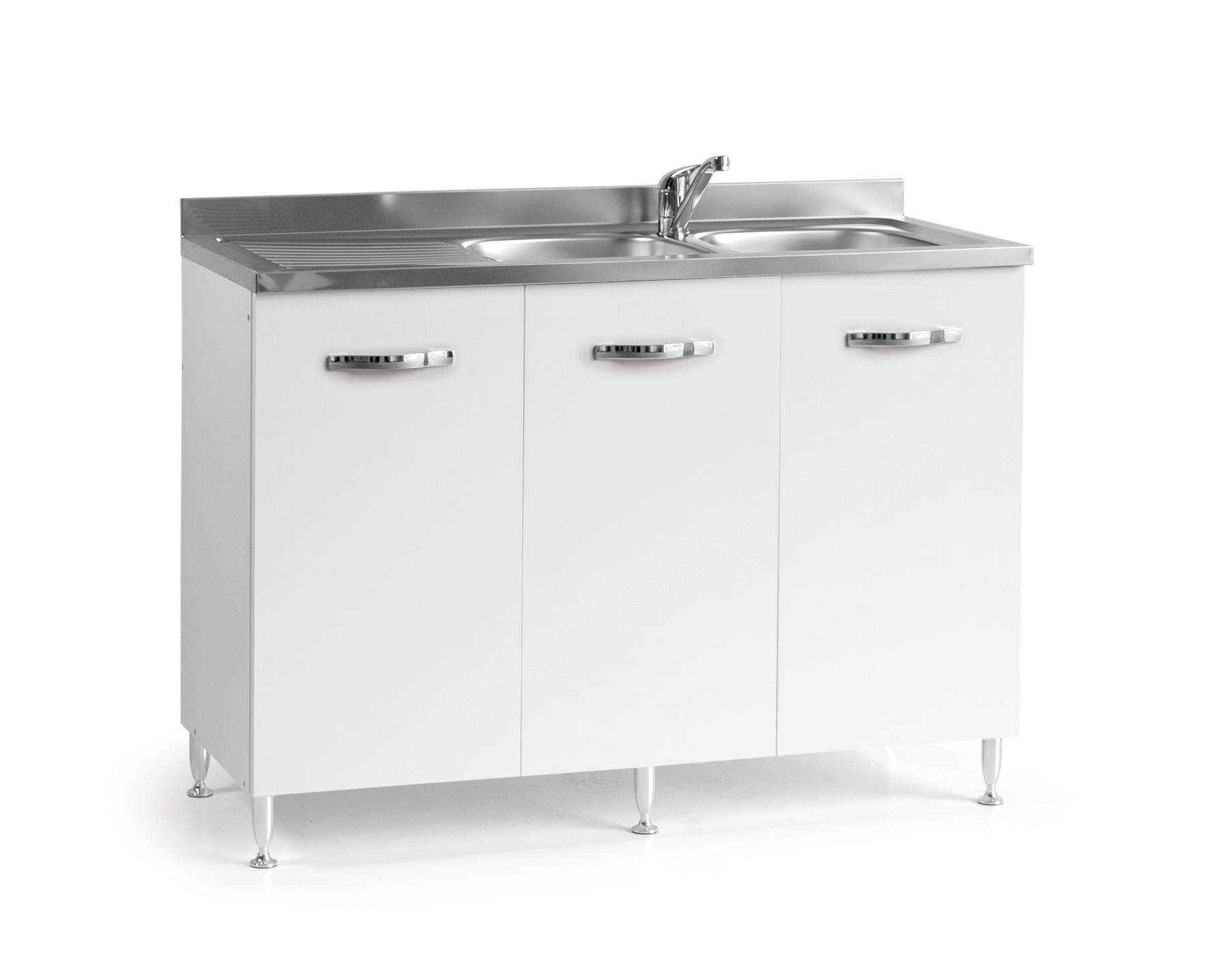caesaroo base sottolavello cucina 120x50xh85 in legno con lavello a doppia vasca   bianco