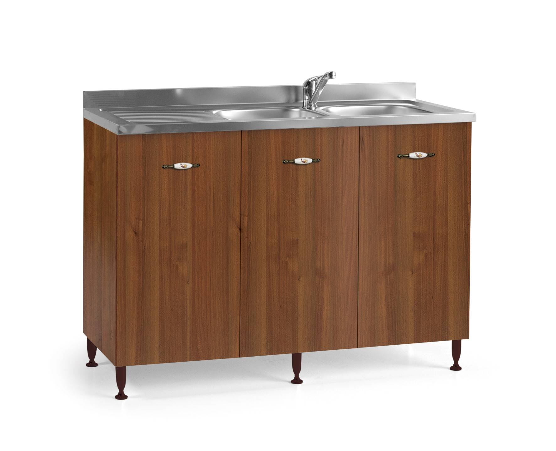 caesaroo base sottolavello cucina 120x50xh85 in legno noce antico con lavello a doppia vasca   noce
