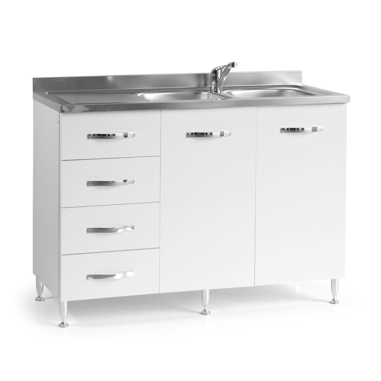 caesaroo base sottolavello cucina 120x50xh85 in legno con cassettiera e lavello a doppia vasca   bianco