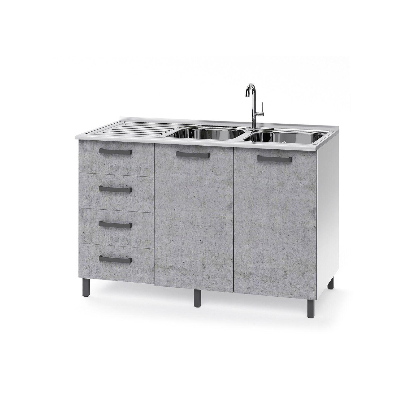 caesaroo base sottolavello cucina 120x50xh85 in legno bianco frassinato e cemento con cassettiera e lavello a doppia vasca   cemento/bianco