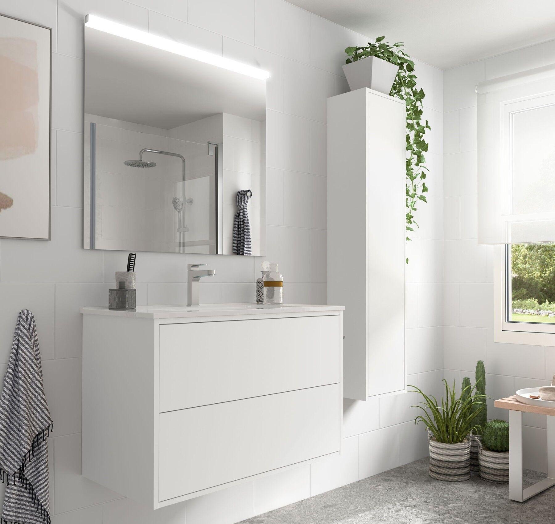 caesaroo mobile bagno sospeso 80 cm ulisse in legno bianco opaco con lavabo in porcellana   80 cm - con colonna