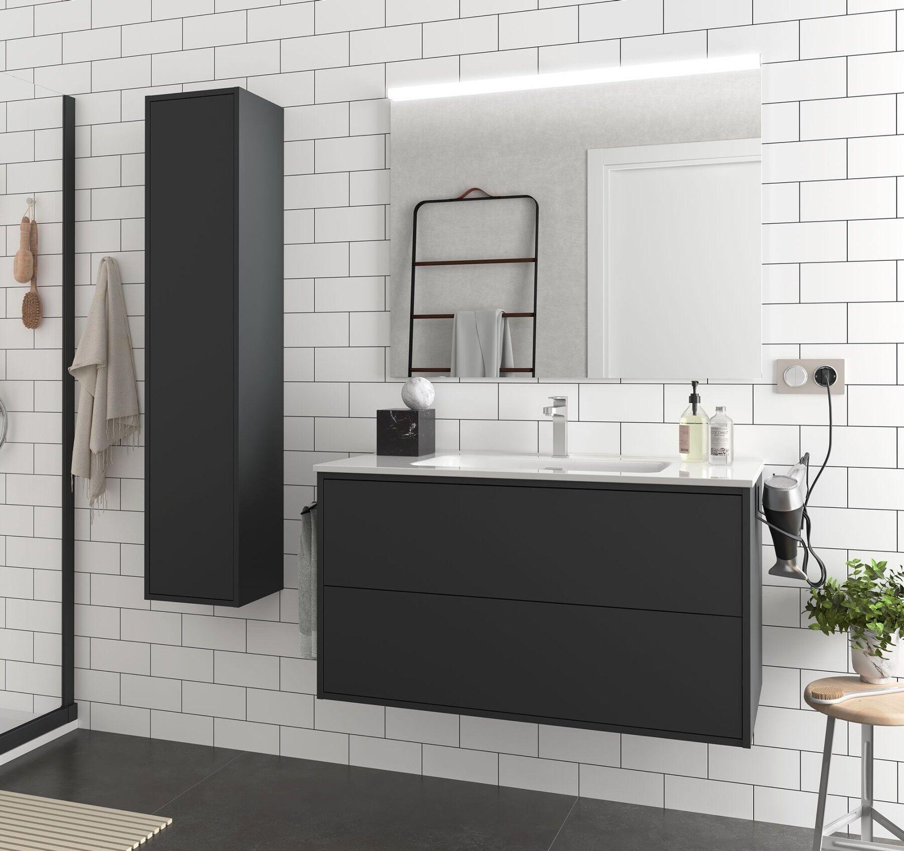 caesaroo mobile bagno sospeso 100 cm ulisse in legno nero opaco con lavabo in porcellana   100 cm - con specchio e lampada led