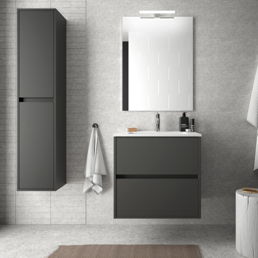 caesaroo mobile bagno sospeso 60 cm in legno grigio opaco con lavabo in porcellana   con specchio e lampada led