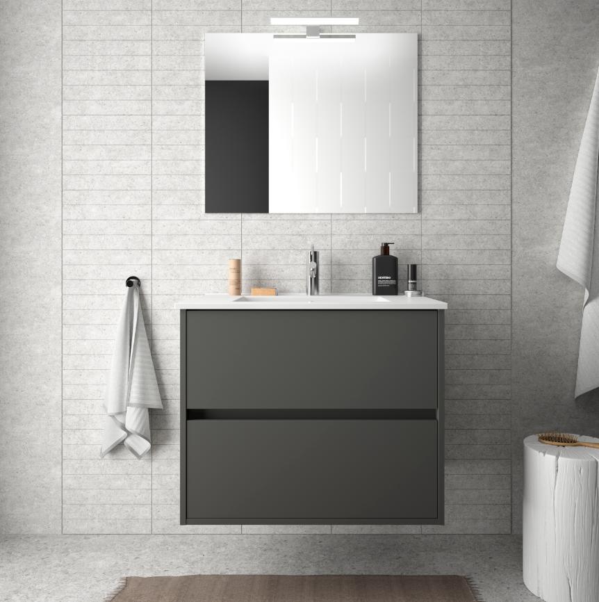 Caesaroo Mobile bagno sospeso 70 cm in legno grigio opaco con lavabo in porcellana Con Doppia colonna, Specchio e Lampada Led