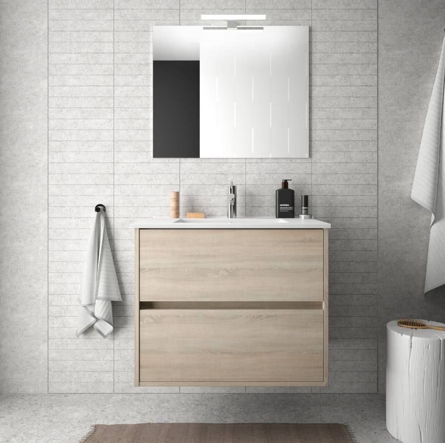 Caesaroo Mobile bagno sospeso 70 cm in legno marrone Caledonia con lavabo in porcellana Con colonna, specchio e lampada LED
