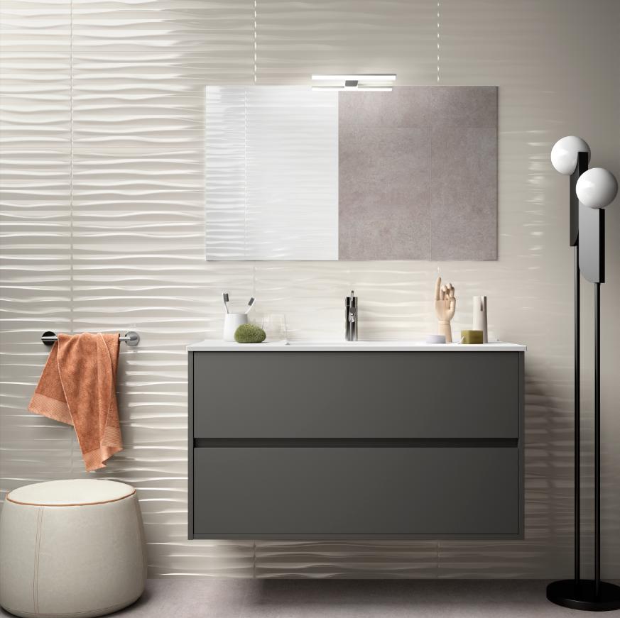 caesaroo mobile bagno sospeso 100 cm in legno grigio opaco con lavabo in porcellana   con colonna, specchio e lampada led