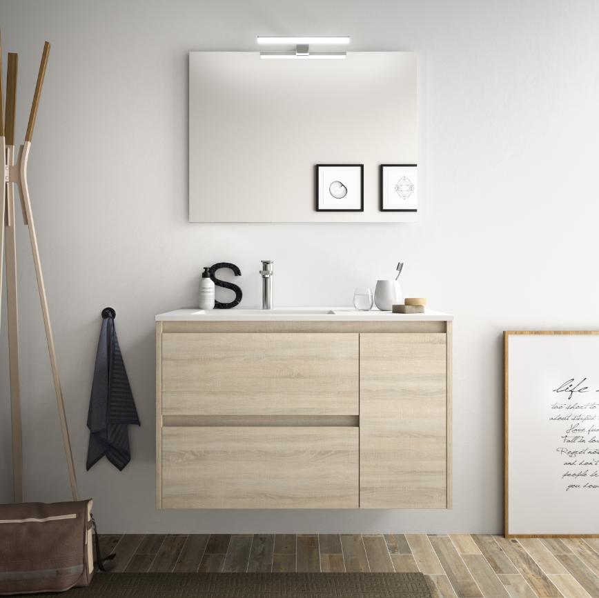 caesaroo mobile bagno sospeso 85 cm in legno marrone caledonia con lavabo in porcellana   con colonna