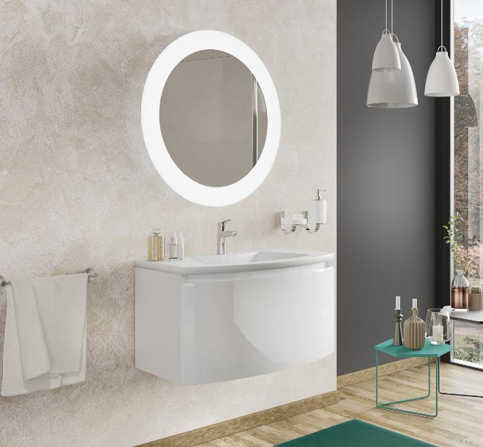 caesaroo mobile bagno sospeso 100 cm venere in legno bianco lucido con lavabo in ceramica e specchio   standard