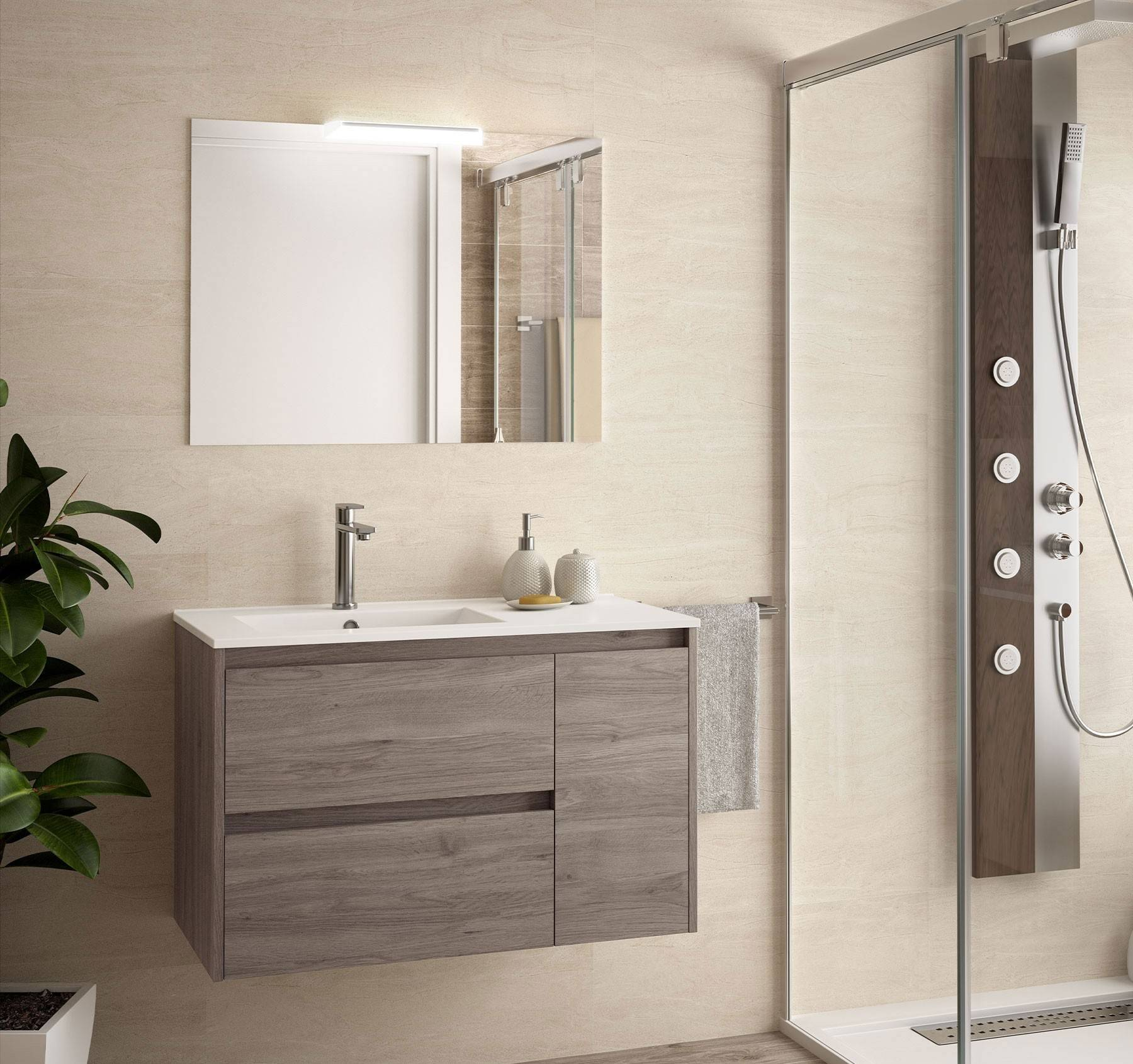 Caesaroo Mobile bagno sospeso 85 cm in legno Rovere eternity con lavabo in porcellana Con colonna, specchio e lampada LED - 85 cm