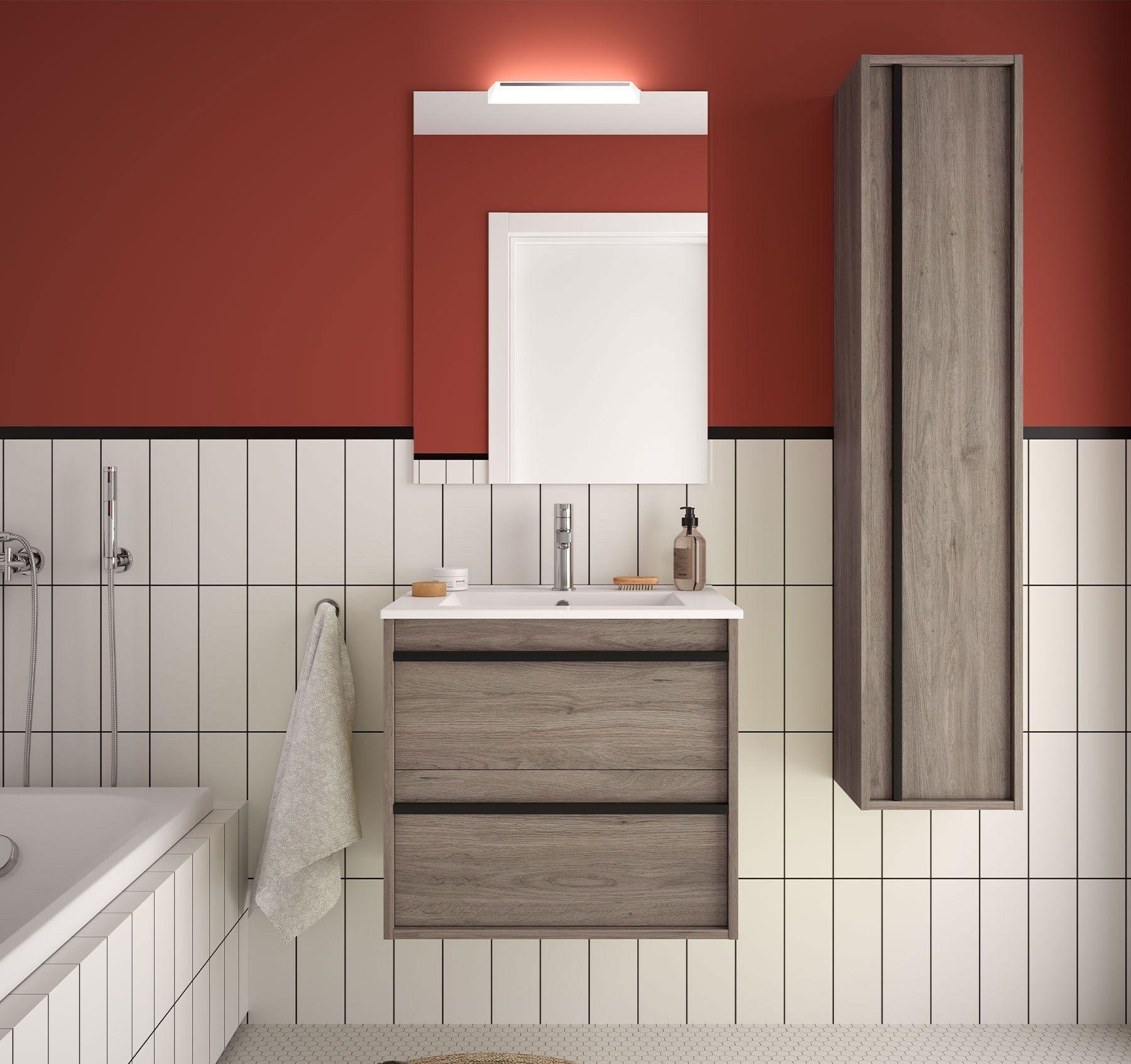 caesaroo mobile bagno sospeso 60 cm nevada in legno rovere eternity con lavabo in porcellana   60 cm - con doppia colonna, specchio e lampada led