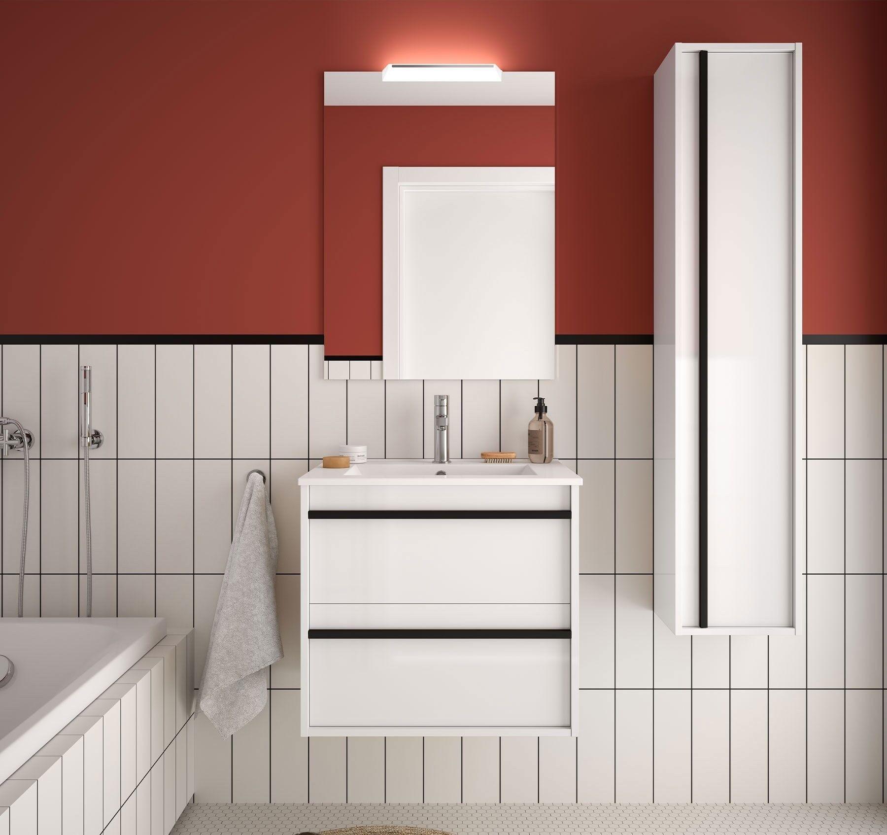 Caesaroo Mobile bagno sospeso 60 cm Nevada in legno Bianco lucido con lavabo in porcellana 60 cm - Standard