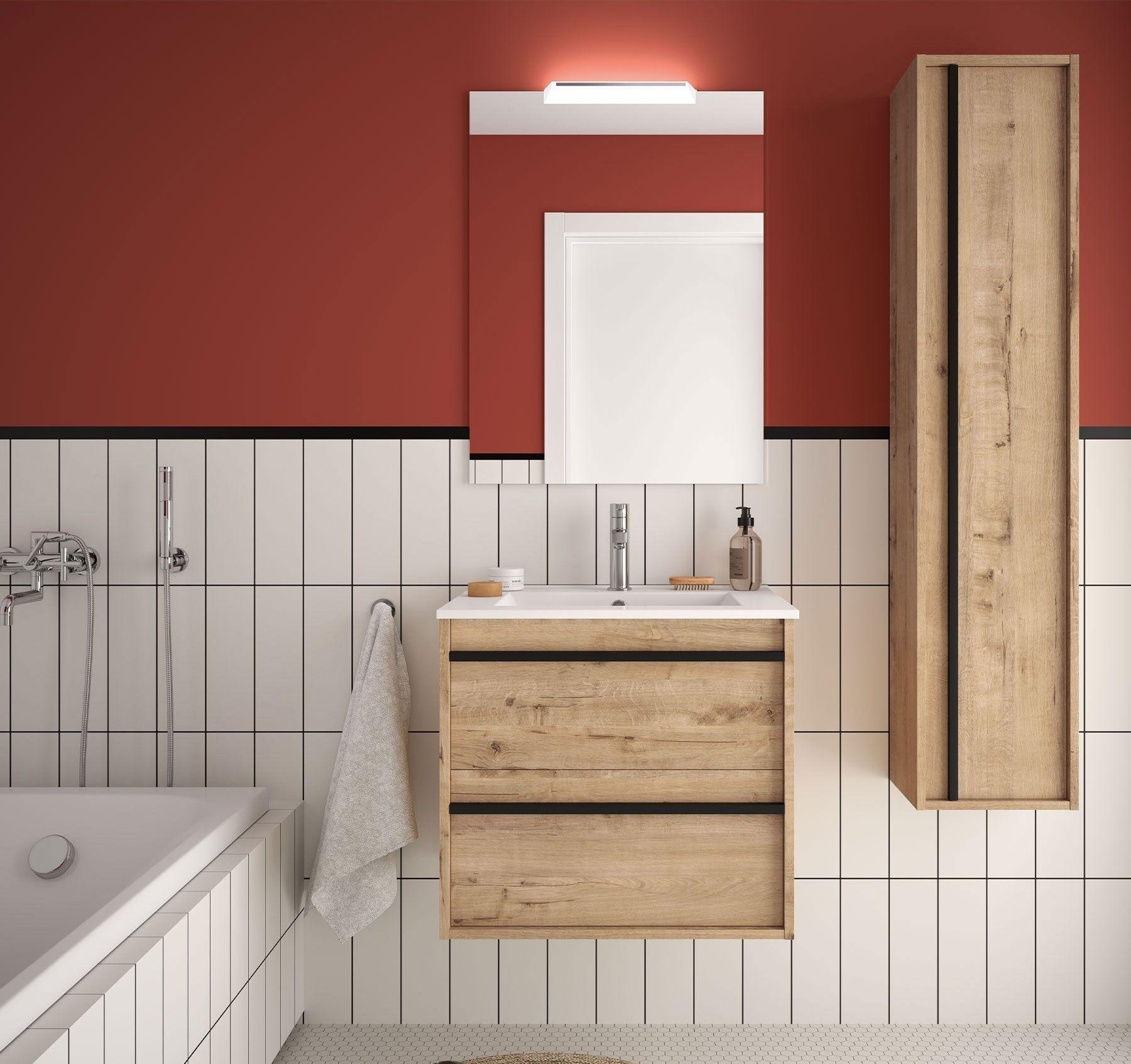 Caesaroo Mobile bagno sospeso 60 cm Nevada in legno Rovere ostippo con lavabo in porcellana 60 cm - Con colonna, specchio e lampada LED